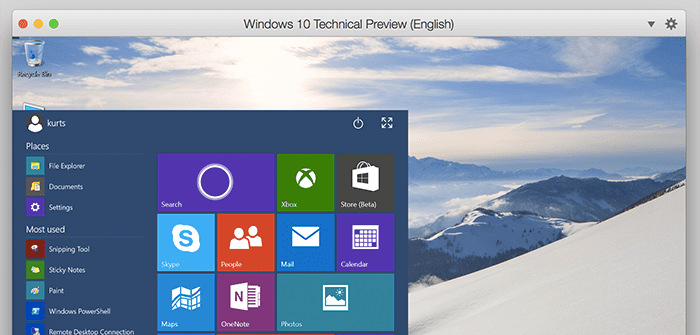 Installing and Using the Windows 10 Technical Preview in Parallels Desktop