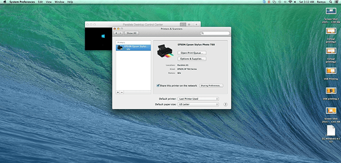 Printing in Parallels Desktop