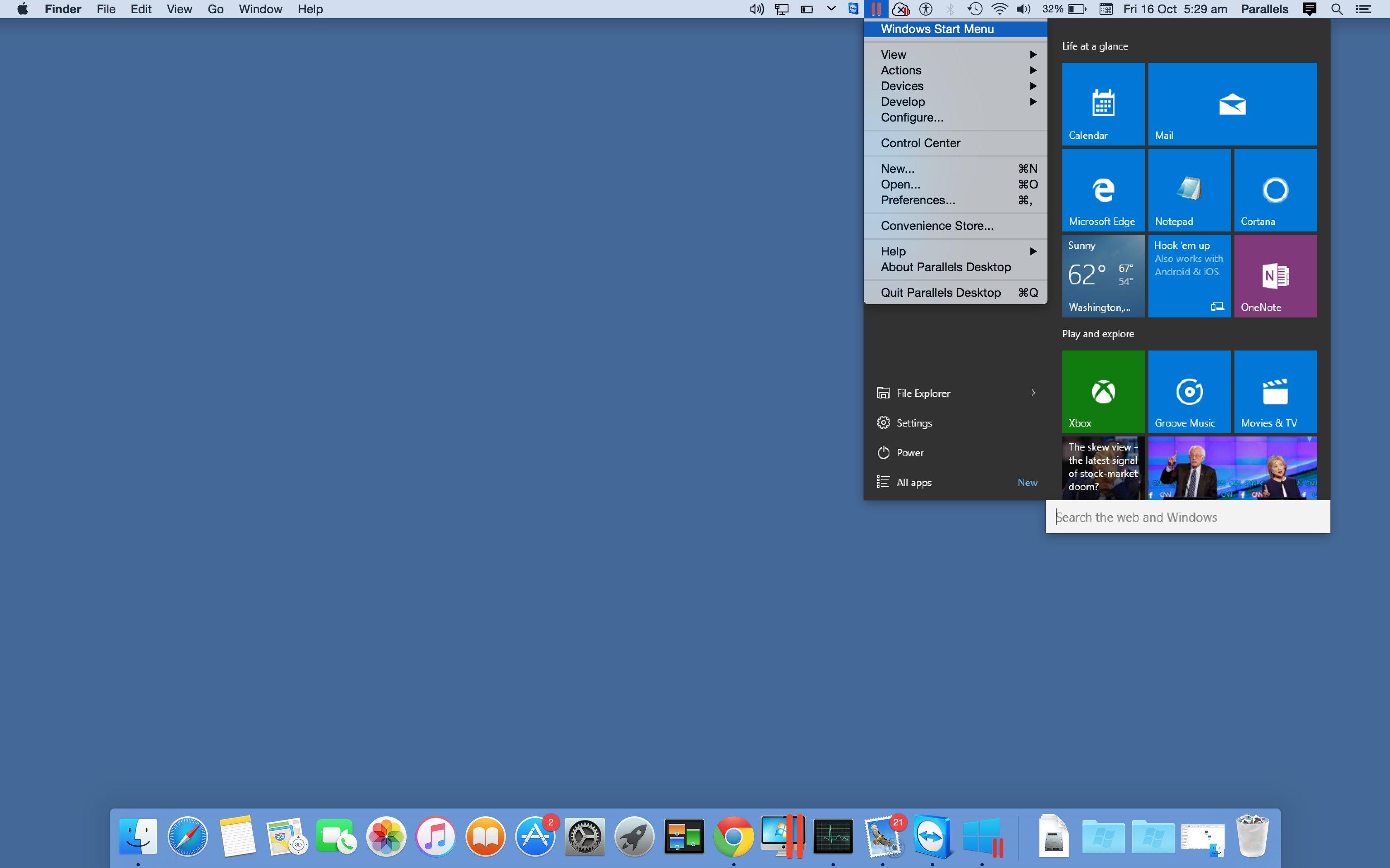 Windows Start Menu in Coherence Mode