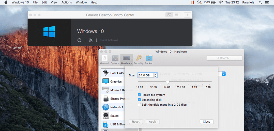 parallels 10 expand disk space
