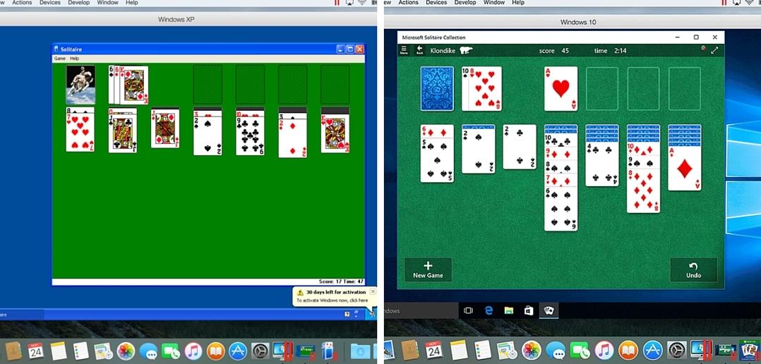 Solitaire in Windows 10 vs. Windows XP