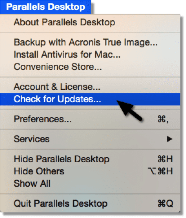 Figure 1_Get any update for Parallels Desktop