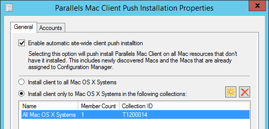 Figure 3. Parallels Mac Client push installation properties