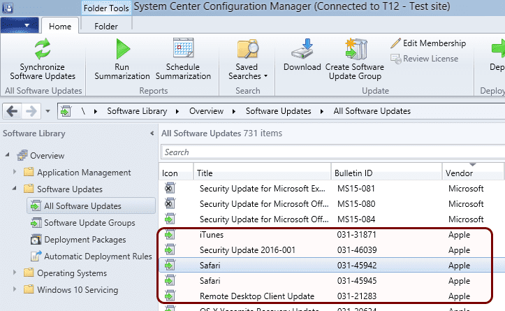 Figure 1. List of Apple and Microsoft updates in SCCM console