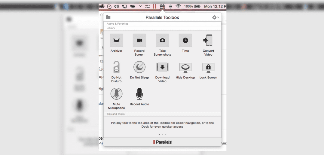 Parallels Toolbox features