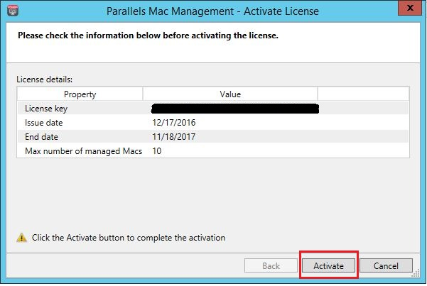 Activating Parallels Mac Management