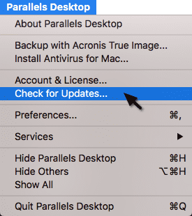 Figure 1_The main Parallels Desktop menu can be used to Check for Updates