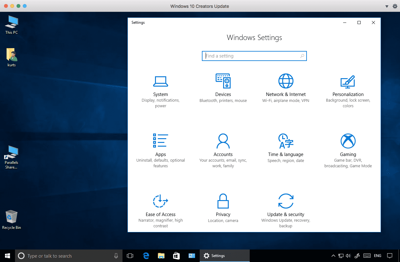 Figure 2_The Windows 10 Creators Update running in Parallels Desktop 12. Some of the Windows Settings choice are new in this update