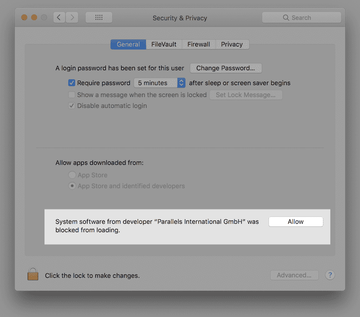Allow Parallels System Extensions in macOS High Sierra