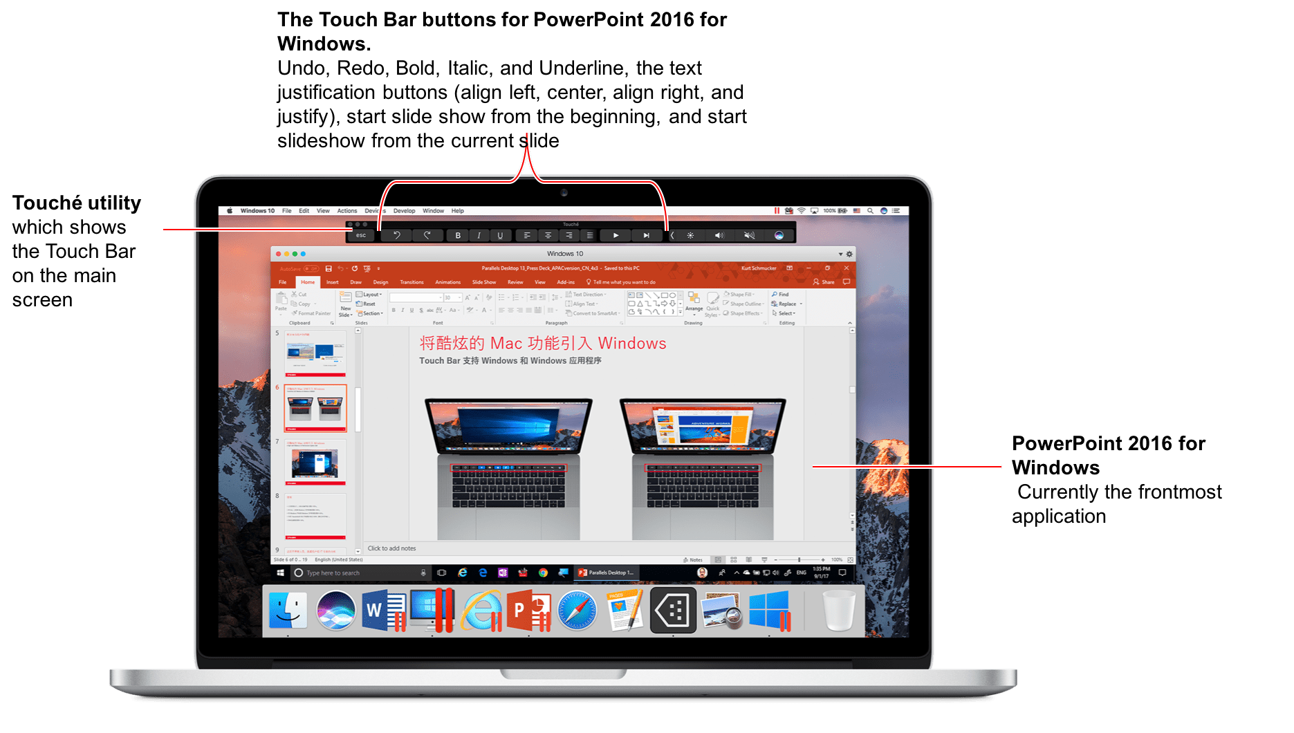Touch bar support in outlook for mac