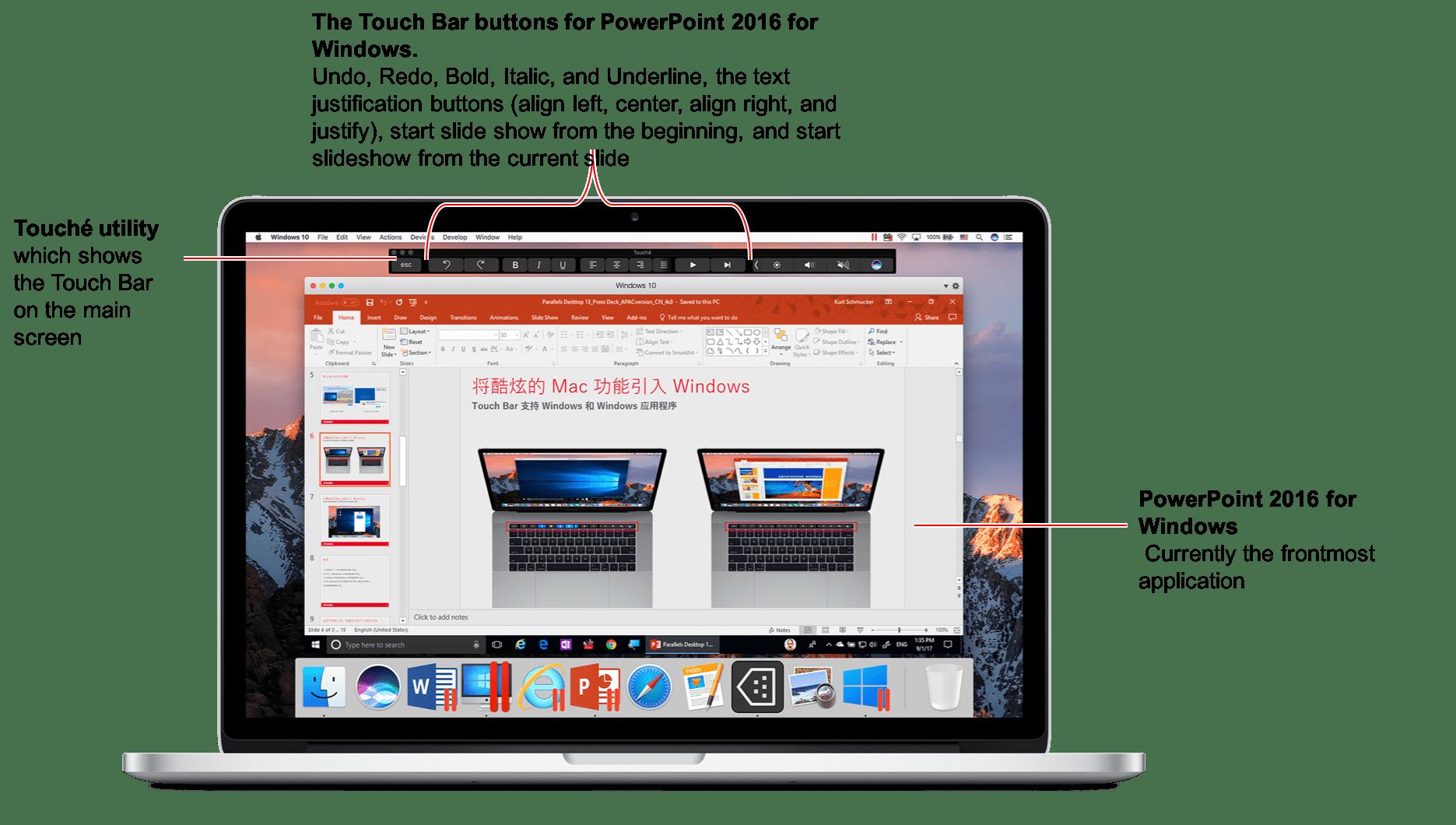 Touch Bar Parallels Desktop 13