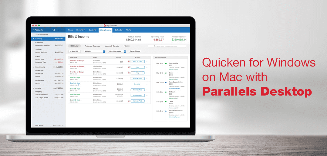 Quicken for Windows on Mac with Parallels Desktop