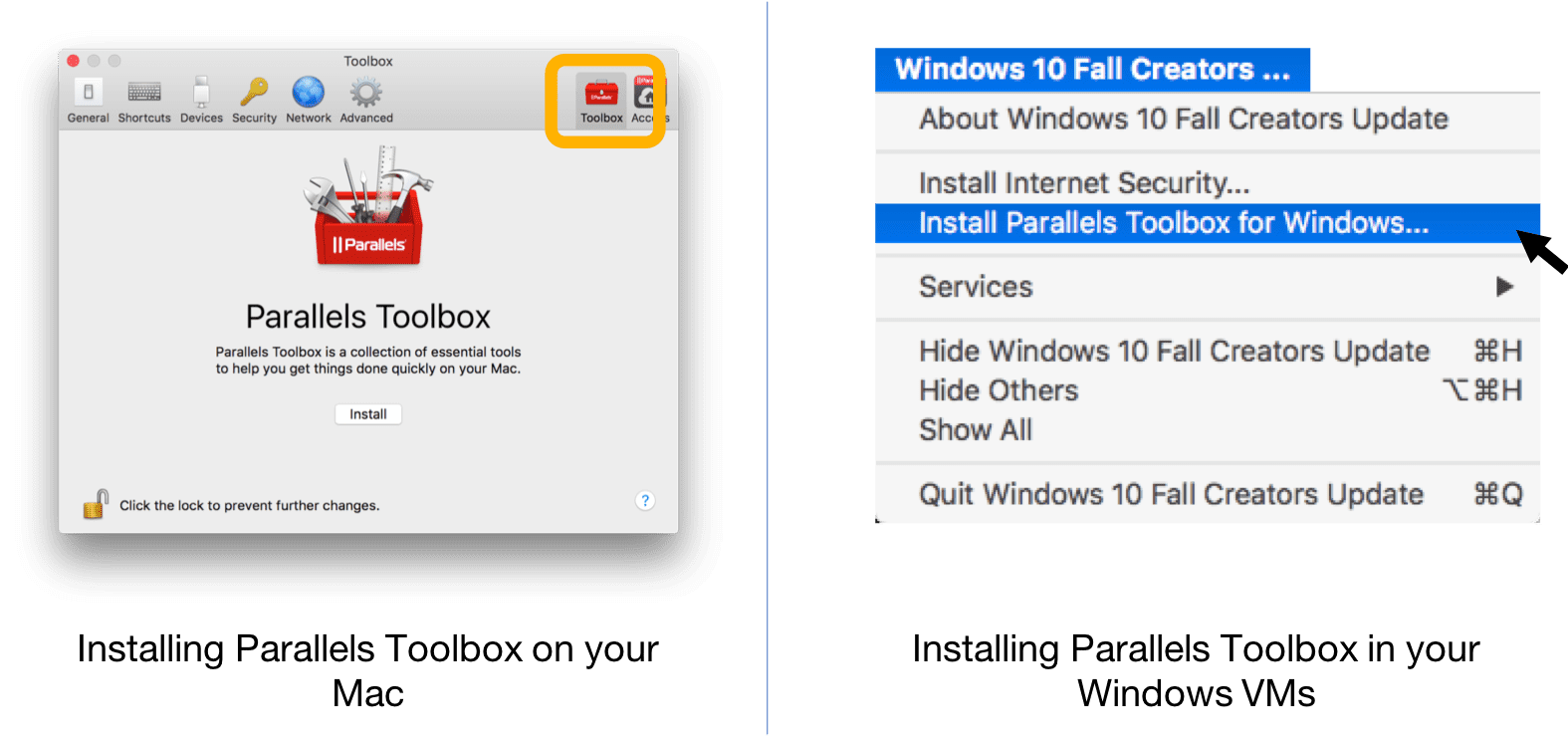 Install Parallels Tools from Parallels Desktop