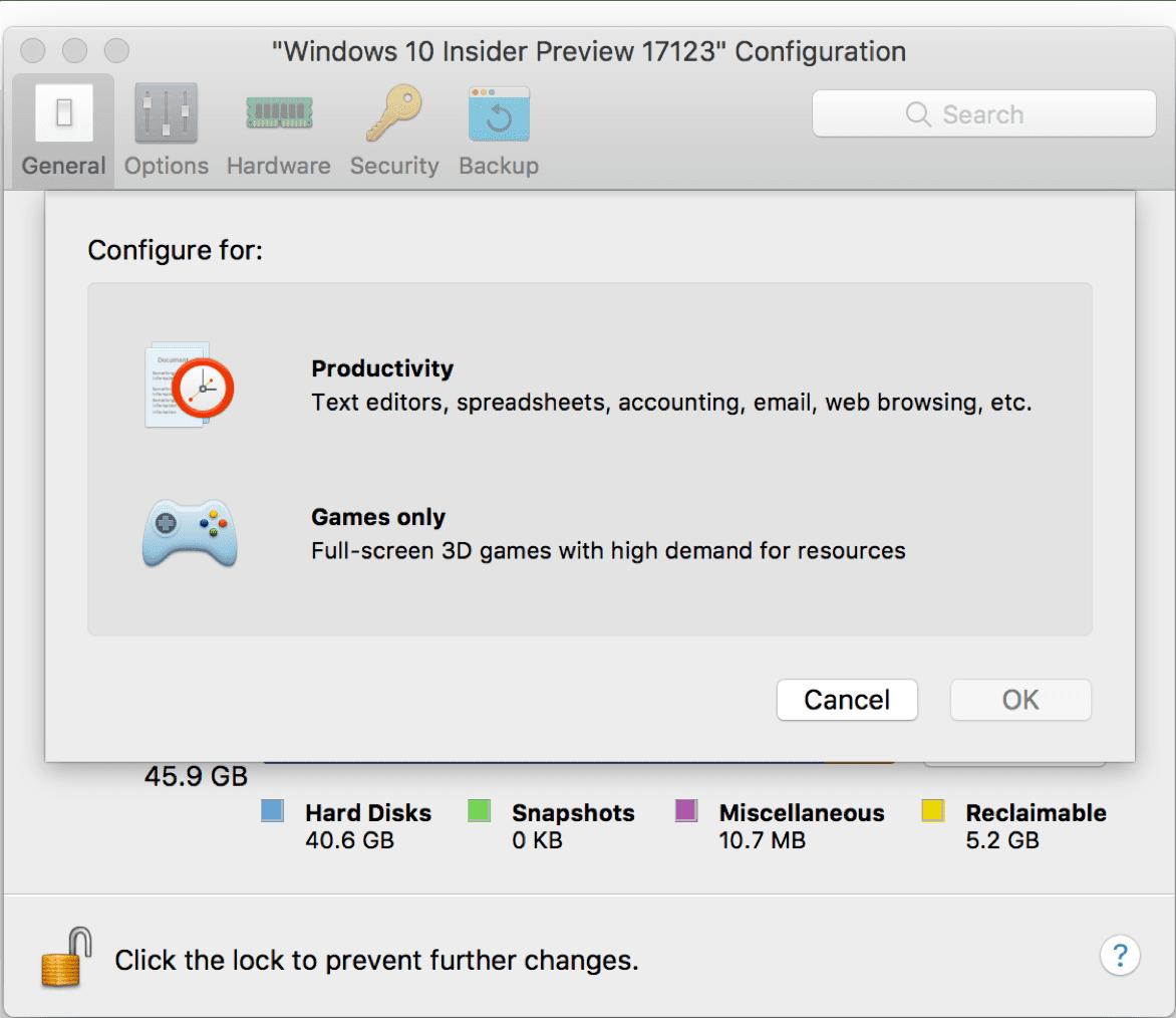 Optimize Parallels Desktop