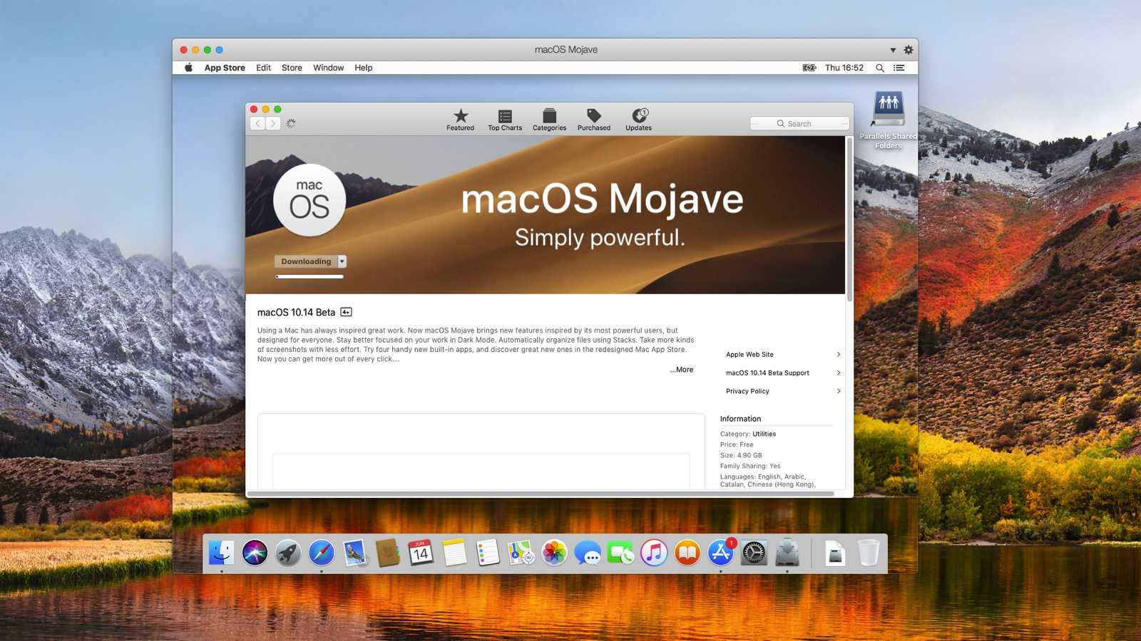 Downloading the Install OS X Mojave application
