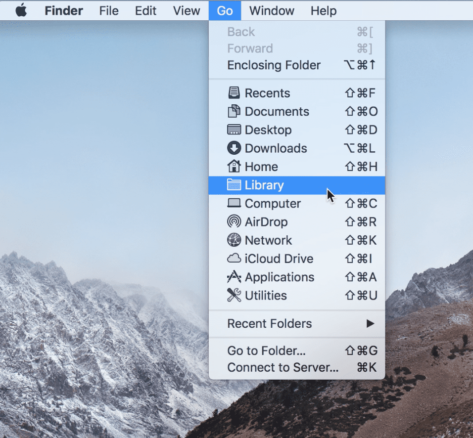 Open Library folder on MacOS