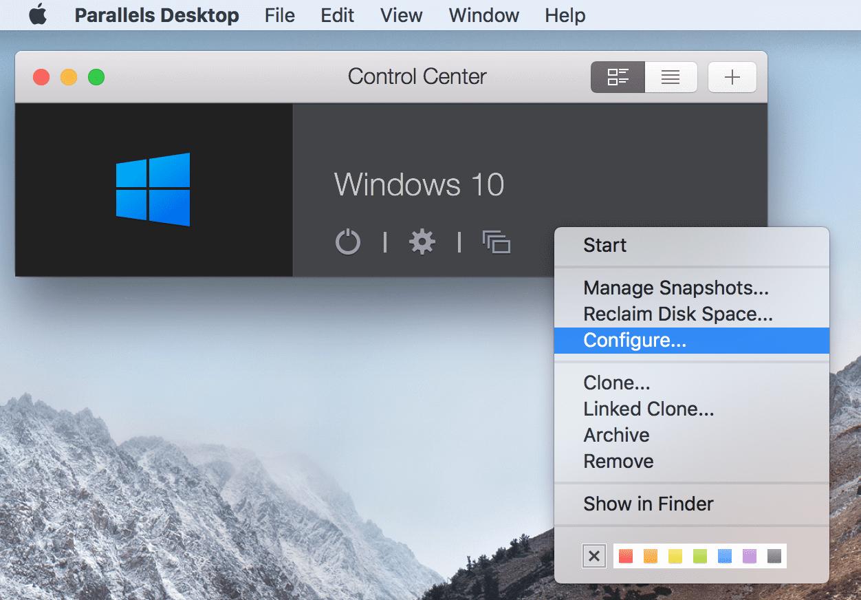 Parallels Desktop Snapshot Config