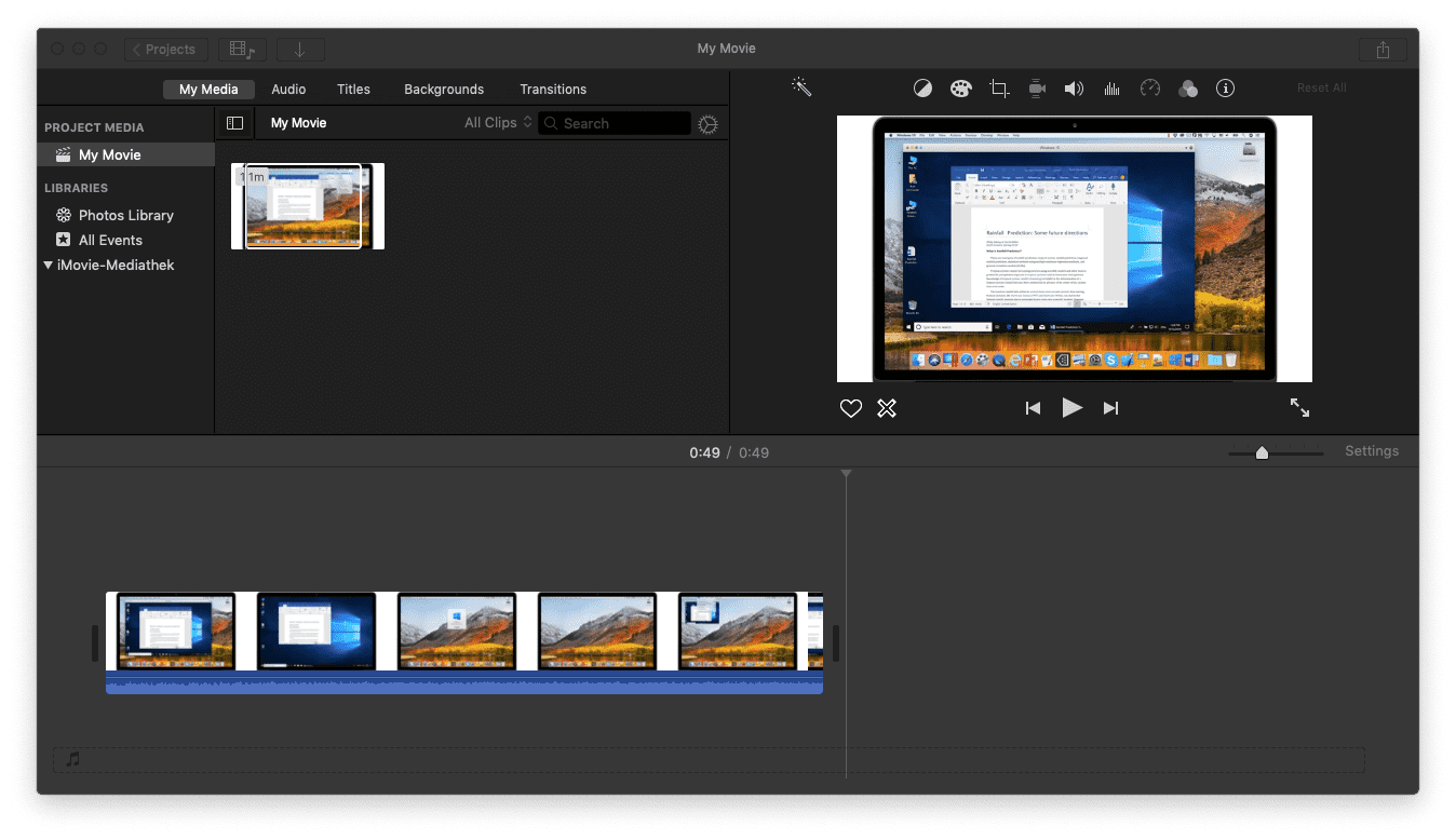 portion in iMovie