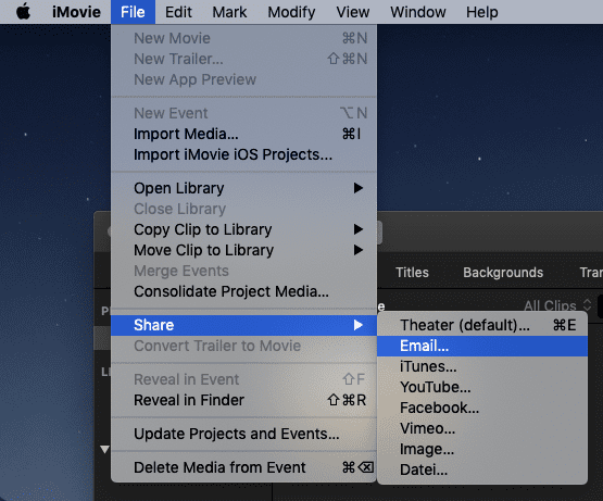 Email in iMovie
