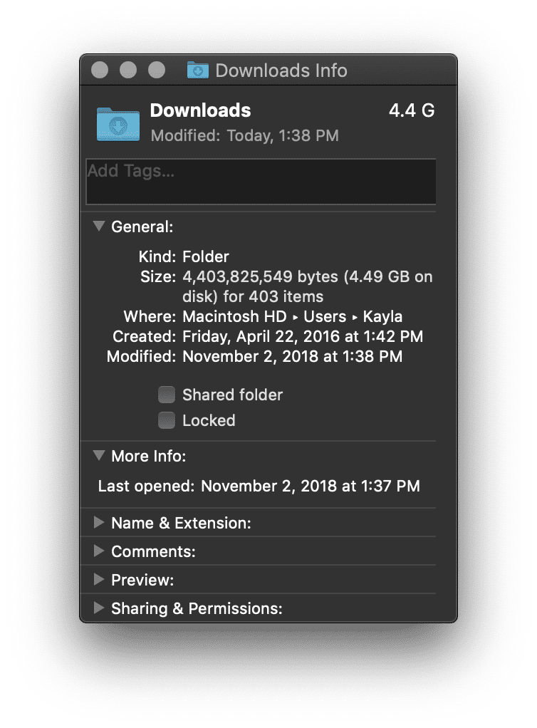 Download Folder Info