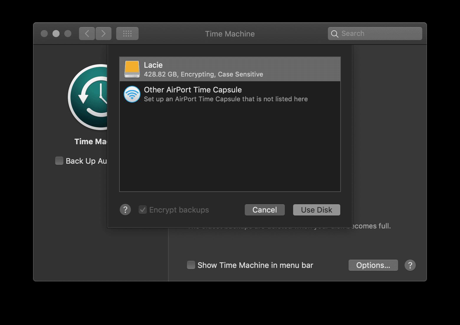Select Disk LaCie Hard Drive Time Machine