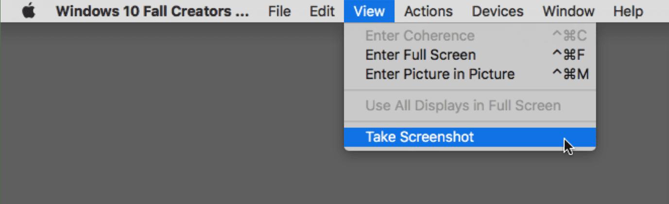 Take Screenshot menu