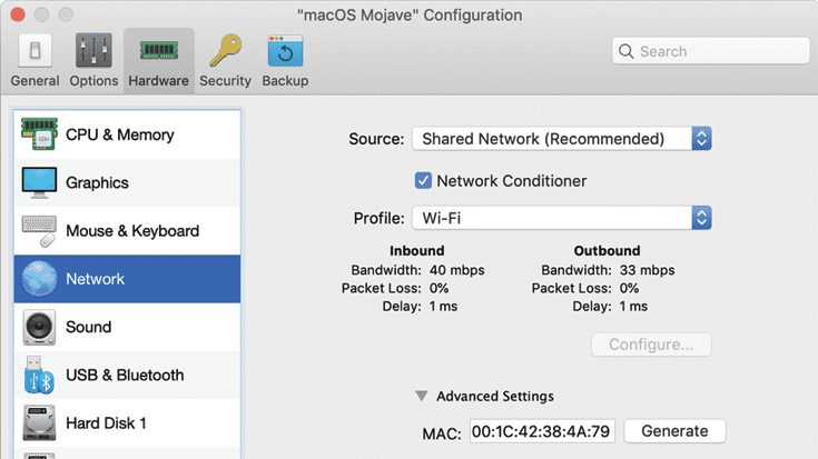 The Network Conditioner in Parallels Desktop Pro Edition