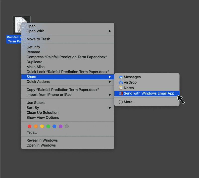 Sharing in Parallels Desktop