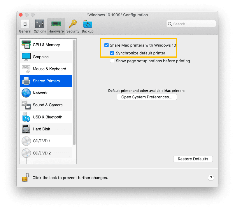 Printing Parallels Desktop