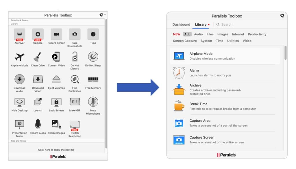 Parallels Toolbox Interface
