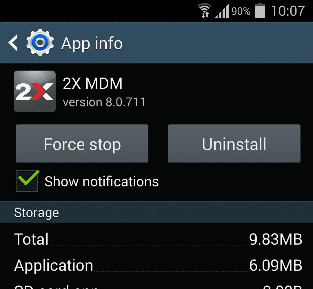 Uninstalling 2X MDM App from Android