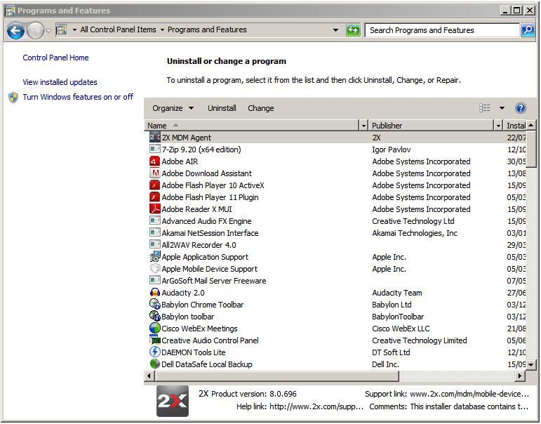 How do you remove the 2X MDM Windows agent?