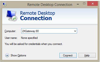 2X remote desktop connection