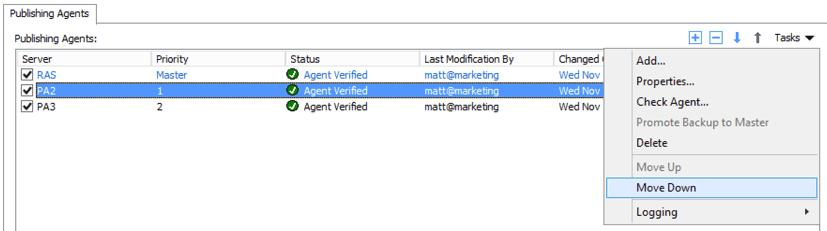 Multiple Active RAS Publishing Agents