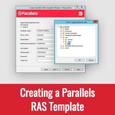 Creating a RAS Template using Parallels Remote Application Server