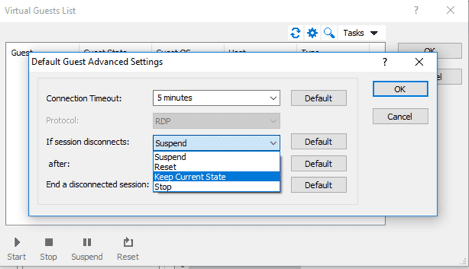 Prevent a Virtual Guest from Suspending on Disconnect