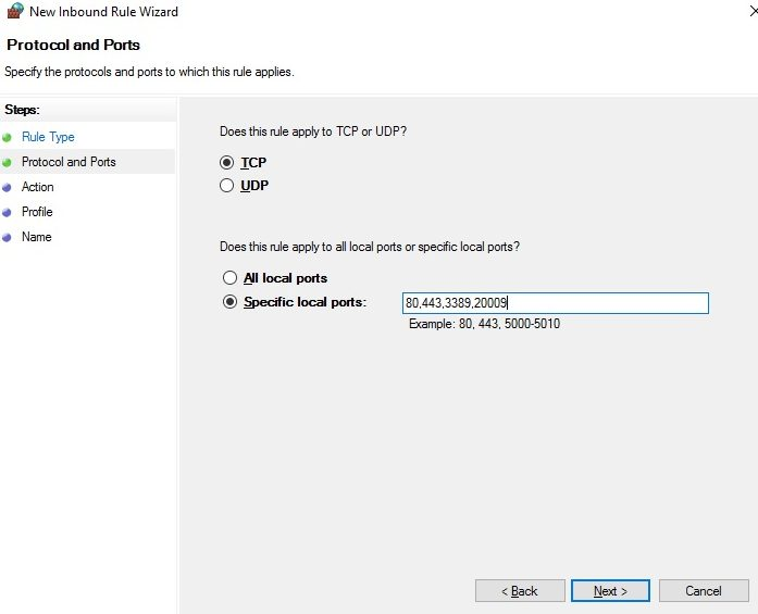 How to configure RDP TCP Port and UDP Port requirements