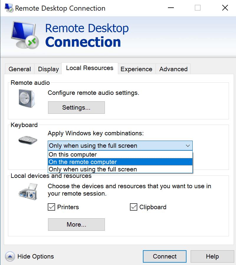 Figure 2 - Fix the Alt Tab in a Remote Desktop