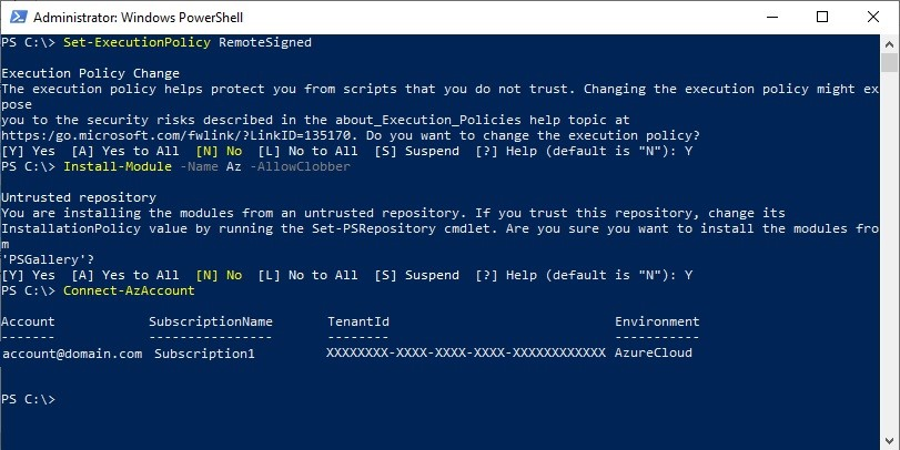 Figure 1 - Getting started with Azure PowerShell