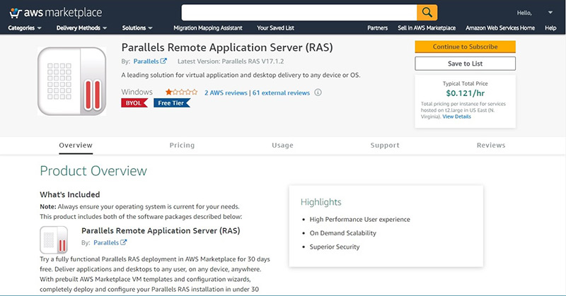Figure 1 - Deploy Parallels RAS from AWS Marketplace