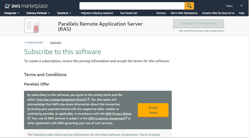 Figure 2 - Deploy Parallels RAS from AWS Marketplace