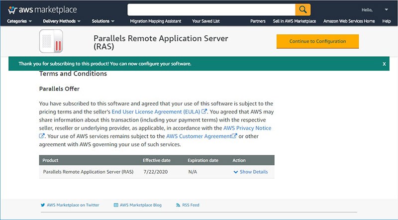 Figure 3 - Deploy Parallels RAS from AWS Marketplace