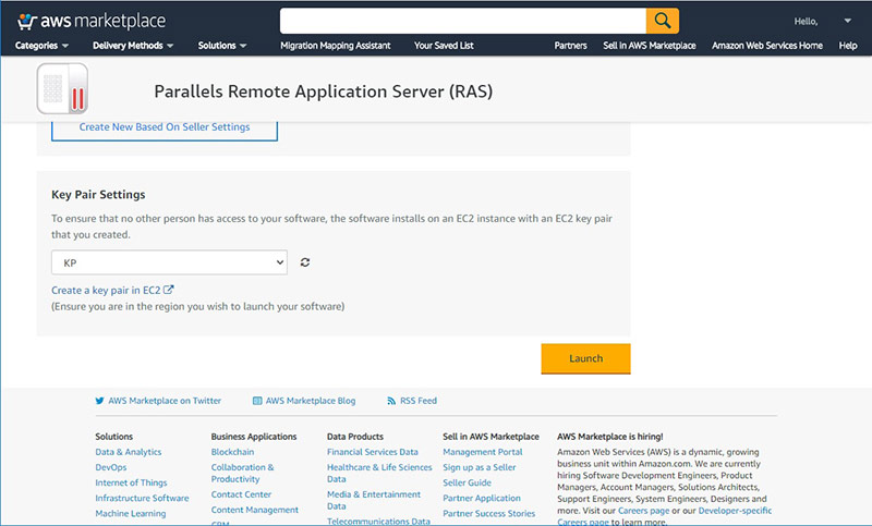 Figure 5 - Deploy Parallels RAS from AWS Marketplace
