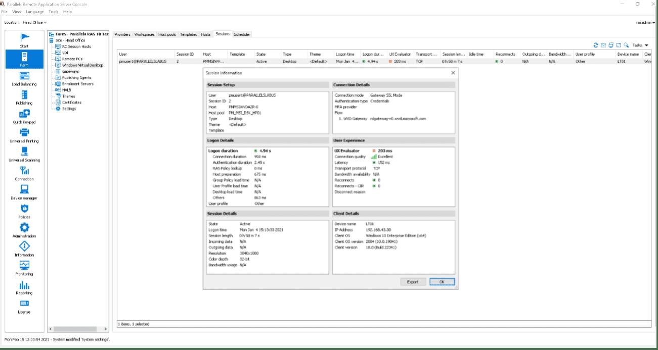 Figure 11 - How to Remote Desktop Multiple Users on Windows 10 with Windows Virtual Desktop