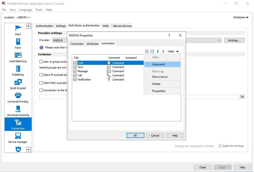 Figure 3 - Configure Push Notifications for Client Authentication