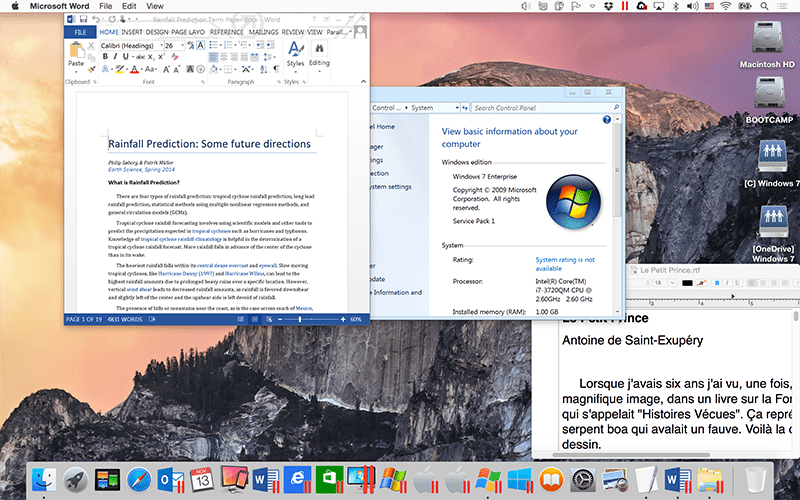 Darstellungsmodus in Parallels Desktop Coherence