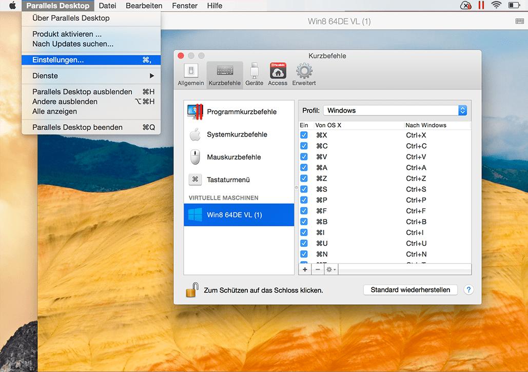Kurzbefehle Parallels Desktop 2