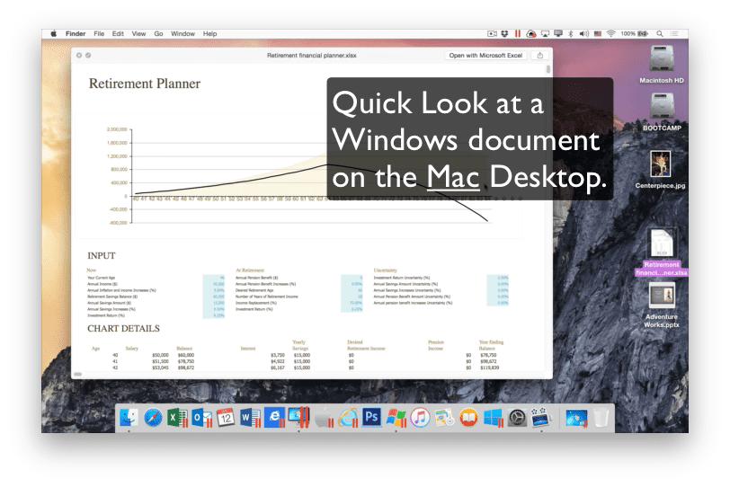 Quick Look Windows Parallels Desktop