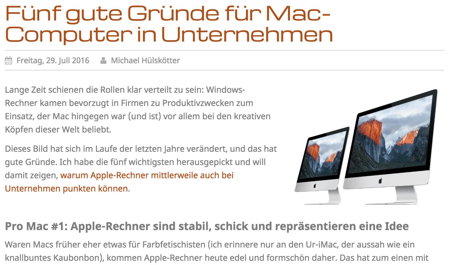 Macs in Unternehmen