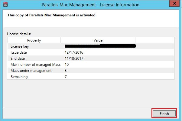 Activating Parallels Mac Management